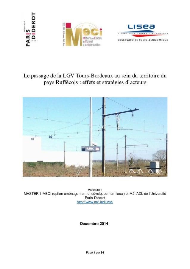 Page 1 sur 36 Le passage de la LGV Tours-Bordeaux au sein du territoire du pays Ruffécois : effets et stratégies d'acteurs...