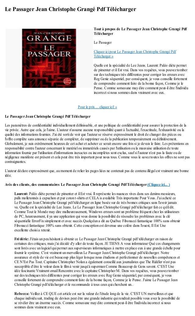 Le passager jean christophe grange pdf telecharger - Le passager jean christophe grange resume ...