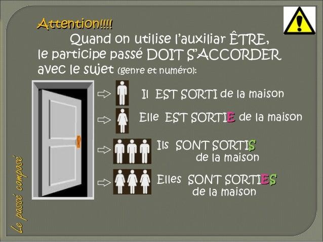 Attention!!!! Quand on utilise l'auxiliar ÊTRE, le participe passé DOIT S'ACCORDER avec le sujet (genre et numéro): Il EST...