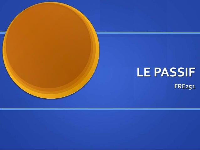 LE PASSIF FRE251