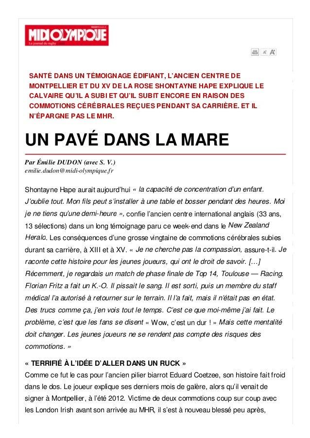 SANTÉ DANS UN TÉMOIGNAGE ÉDIFIANT, L'ANCIEN CENTRE DE MONTPELLIER ET DU XV DE LA ROSE SHONTAYNE HAPE EXPLIQUE LE CALVAIRE ...