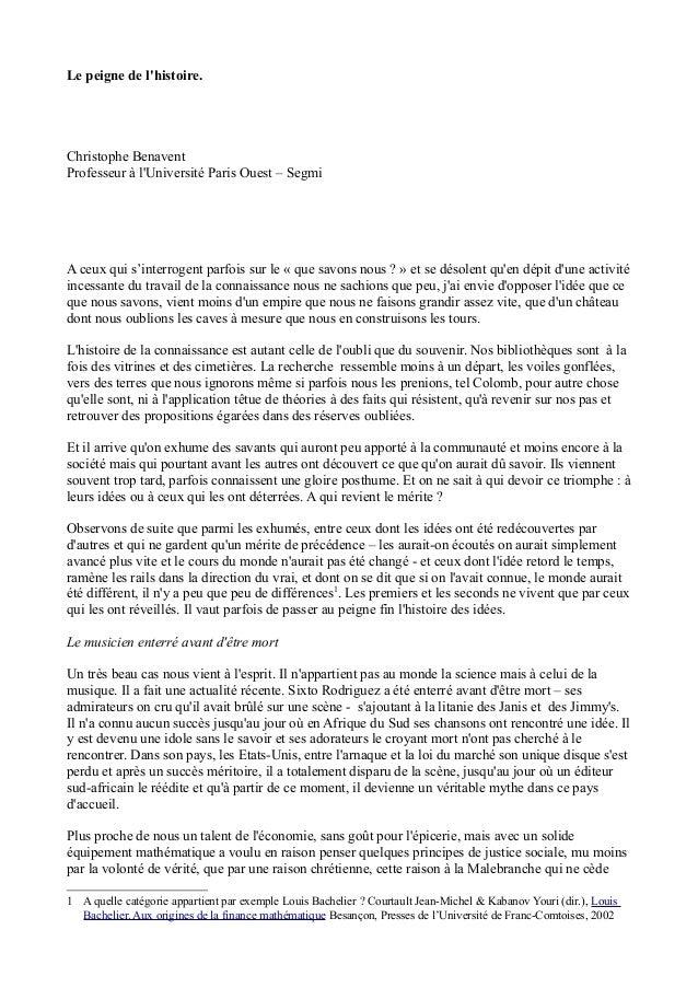Le peigne de l'histoire. Christophe Benavent Professeur à l'Université Paris Ouest – Segmi A ceux qui s'interrogent parfoi...