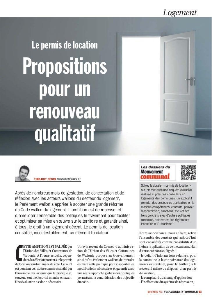 Logement             Le permis de location     Propositions        pour un      renouveau       qualitatif               T...