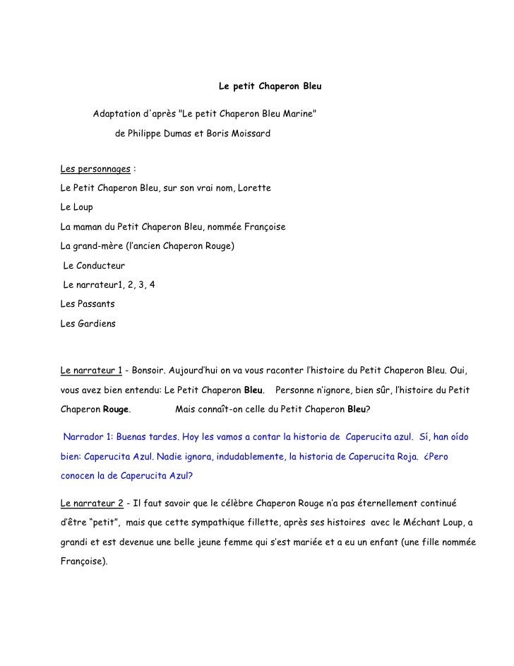 "Le petit Chaperon Bleu       Adaptation daprès ""Le petit Chaperon Bleu Marine""              de Philippe Dumas et Boris Moi..."