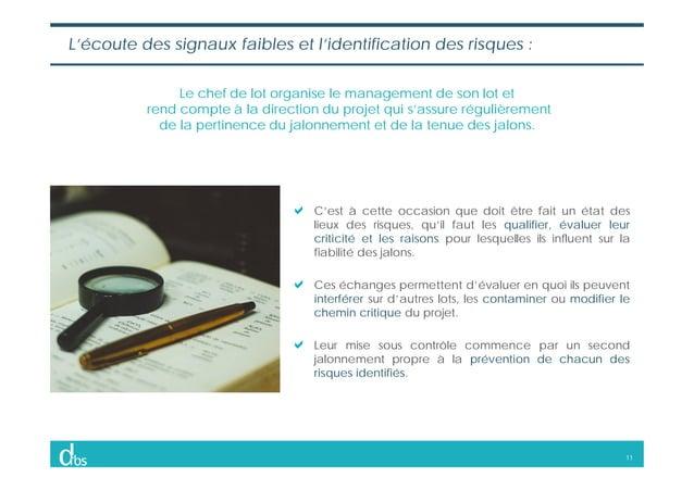 11 L'écoute des signaux faibles et l'identification des risques : Le chef de lot organise le management de son lot et rend...