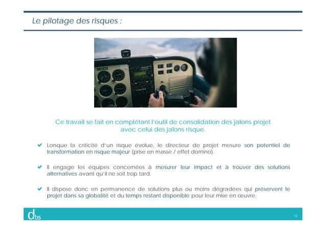 12 Le pilotage des risques : Ce travail se fait en complétant l'outil de consolidation des jalons projet avec celui des ja...