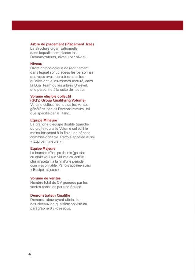 Arbre de placement (Placement Tree) La structure organisationnelle dans laquelle sont placés les Démonstrateurs, niveau pa...
