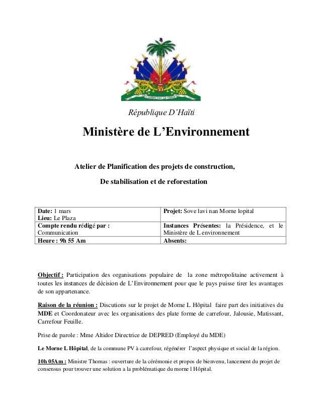 République D'Haïti                  Ministère de L'Environnement               Atelier de Planification des projets de con...