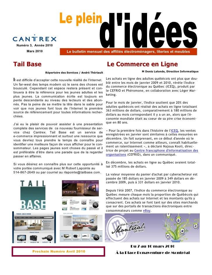 Numéro 3, Année 2010          Mars 2010                     Le bulletin mensuel des affiliés électroménagers, literies et ...