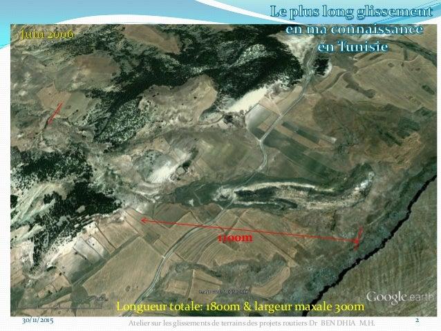 30/11/2015 3 1100m Atelier sur les glissements de terrains des projets routiers Dr BEN DHIA M.H.
