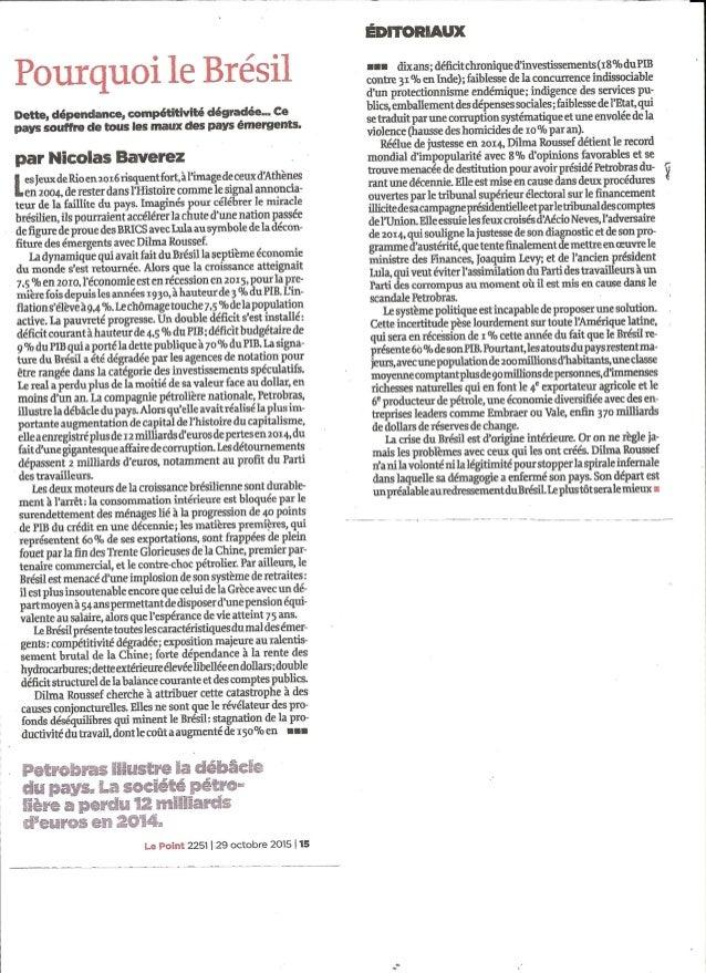 Le Point - Pourquoi le brésil - N.Baverez 29.10.2015