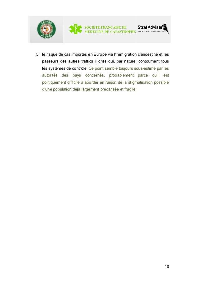 5. le risque de cas importés en Europe via l'immigration clandestine et les  passeurs des autres traffics illicites qui, p...