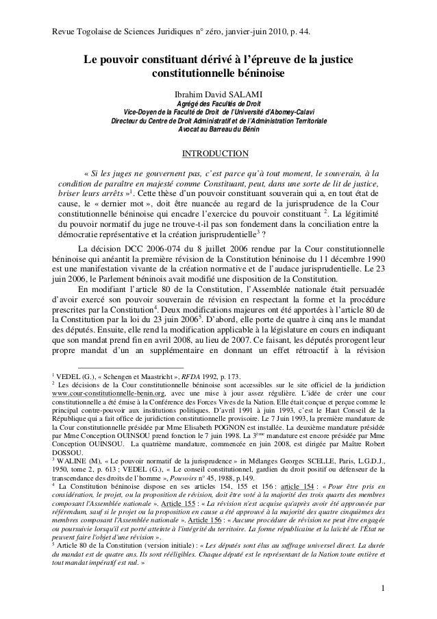Revue Togolaise de Sciences Juridiques n° zéro, janvier-juin 2010, p. 44. 1 Le pouvoir constituant dérivé à l'épreuve de l...