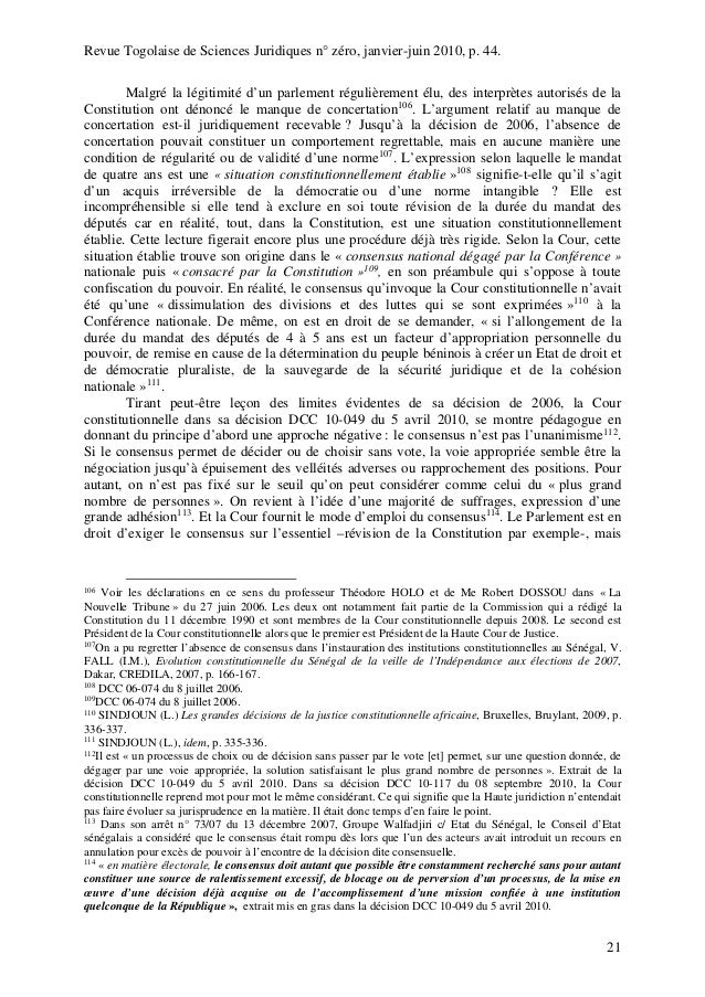 dissertation le pouvoir constituant dérivé au sénégal