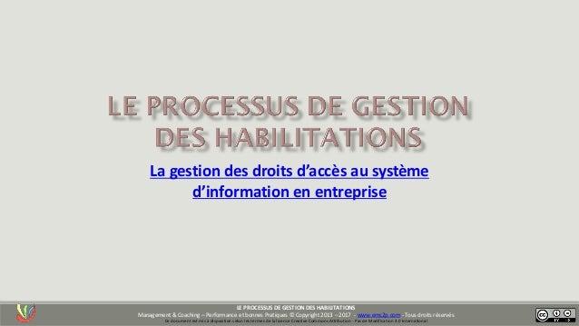 La gestion des droits d'accès au système d'information en entreprise LE PROCESSUS DE GESTION DES HABILITATIONS Management ...