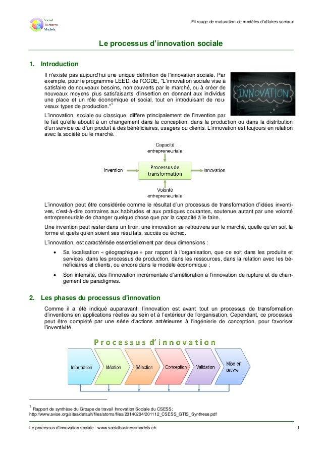 Fil rouge de maturation de modèles d'affaires sociaux Le processus d'innovation sociale - www.socialbusinessmodels.ch 1 Le...