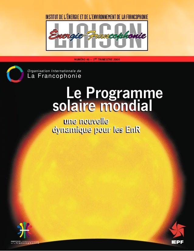 IEPF Le Programme solaire mondial une nouvelle dynamique pour les EnR INSTITUT DE L ÉNERGIE ET DE L ENVIRONNEMENT DE LA FR...