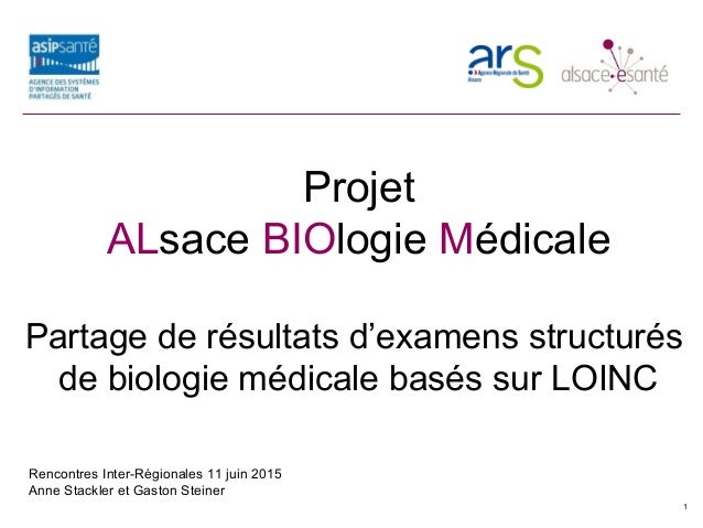 Projet ALBIOM Projet ALsace BIOlogie Médicale Partage de résultats d'examens structurés de biologie médicale basés sur LOI...