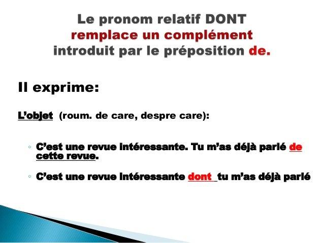 Le pronom relatif dont Slide 2