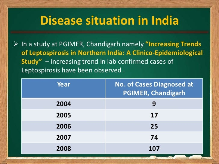"""Disease situation in India In a study at PGIMER, Chandigarh namely """"Increasing Trends  of Leptospirosis in Northern India..."""