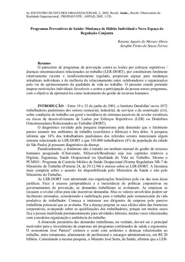 In: ENCONTRO DE ESTUDOS ORGANIZACIONAIS, 2., 2002, Recife. Anais... Recife: Observatório da  Realidade Organizacional : PR...