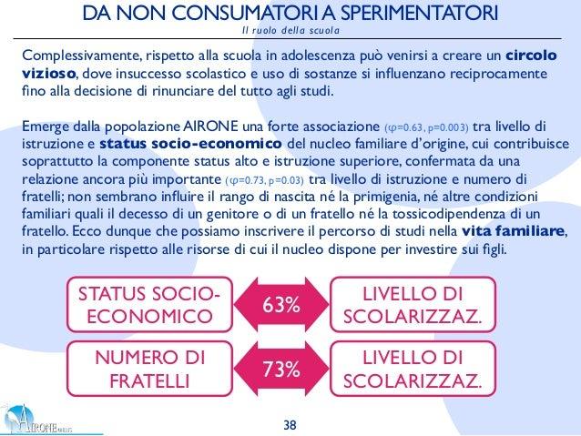 DA NON CONSUMATORIA SPERIMENTATORI Il ruolo della scuola STATUS SOCIO- ECONOMICO LIVELLO DI SCOLARIZZAZ. Complessivamente,...