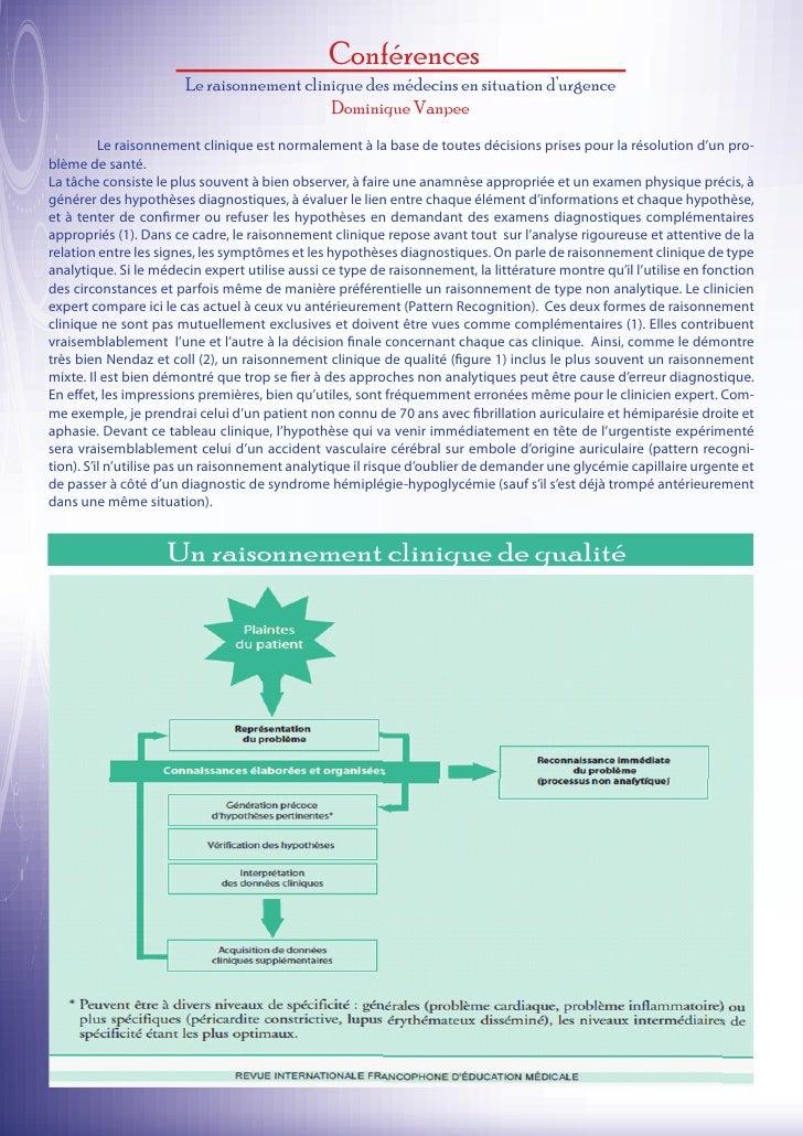 Conférences                       Le raisonnement clinique des médecins en situation d'urgence                            ...