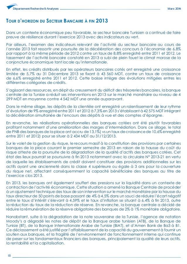 Le rapport 2014 du secteur bancaire tabli par maxula bourse - Grille de salaire secteur bancaire tunisie ...