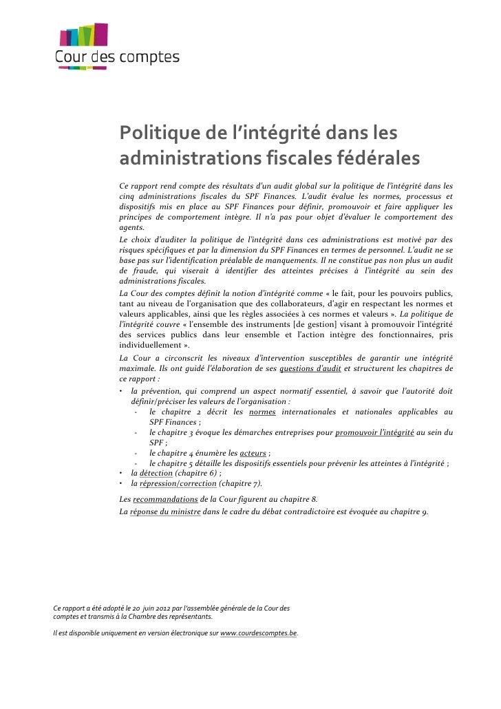 Politique de l'intégrité dans les                      administrations fiscales fédérales                      Ce rapport ...