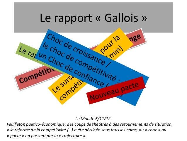 Le rapport « Gallois »                                      Le Monde 6/11/12Feuilleton politico-économique, des coups de t...