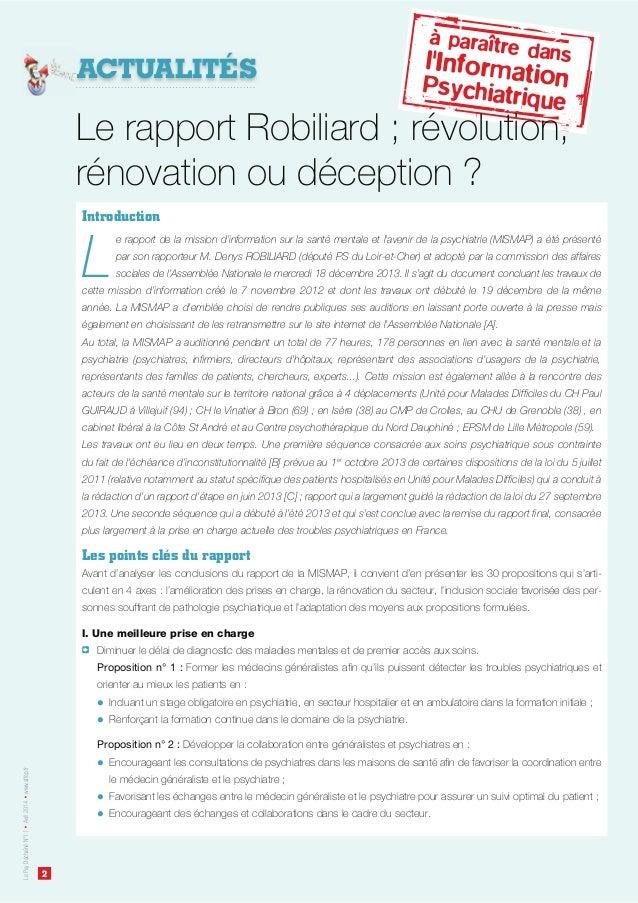 2 LePsyDéchaînéN°11Avril2014www.affep.fr ACTUALITÉS Introduction L e rapport de la mission d'information sur la santé ment...