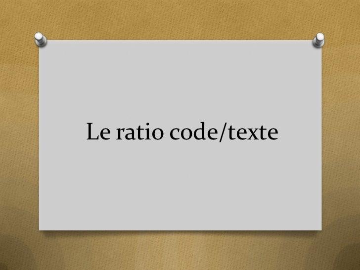 Le ratio code/texte