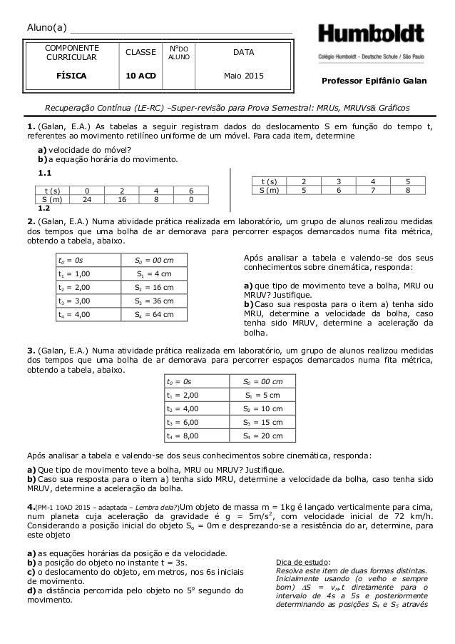 Aluno(a) COMPONENTE CURRICULAR CLASSE No DO ALUNO DATA FÍSICA 10 ACD Maio 2015 Professor Epifânio Galan Recuperação Contín...