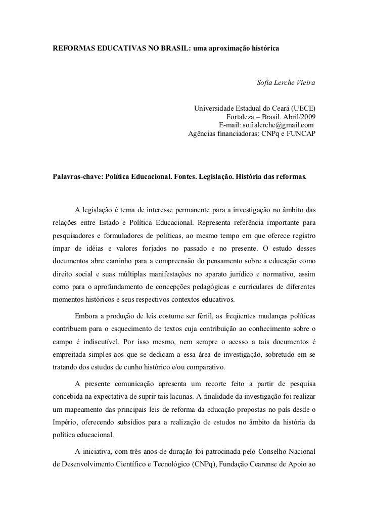 REFORMAS EDUCATIVAS NO BRASIL: uma aproximação histórica                                                                  ...