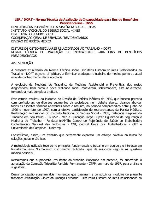 LER / DORT - Norma Técnica de Avaliação de Incapacidade para fins de Benefícios Previdencários - INSS MINISTÉRIO DA PREVID...