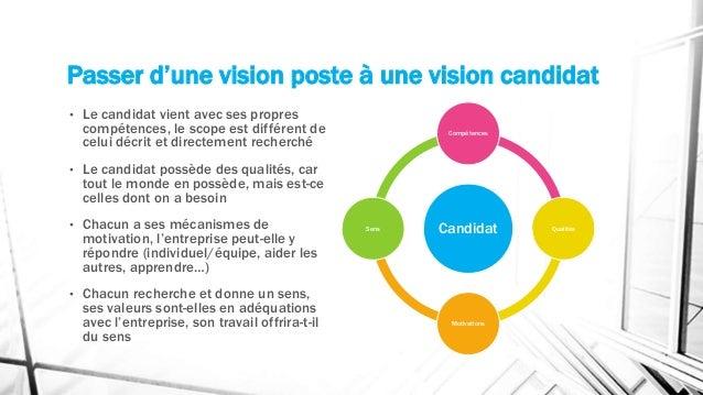 Passer d'une vision poste à une vision candidat • Le candidat vient avec ses propres compétences, le scope est différent d...