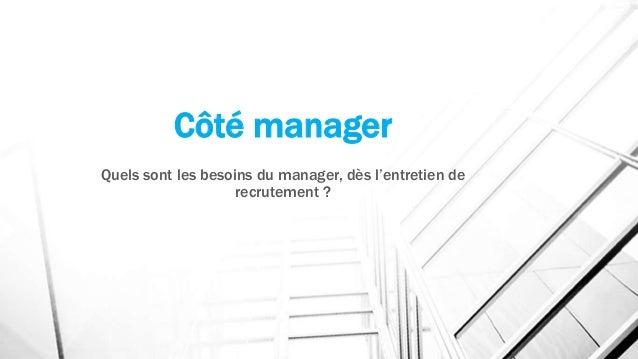 Côté manager Quels sont les besoins du manager, dès l'entretien de recrutement ?