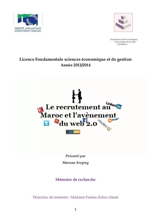Faculté des Sciences Juridiques, Economiques & sociales Casablanca.  Licence Fondamentale sciences économique et de gestio...