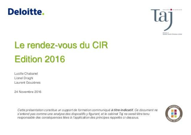 Lucille Chabanel Lionel Draghi Laurent Gouzènes 24 Novembre 2016 Cette présentation constitue un support de formation comm...