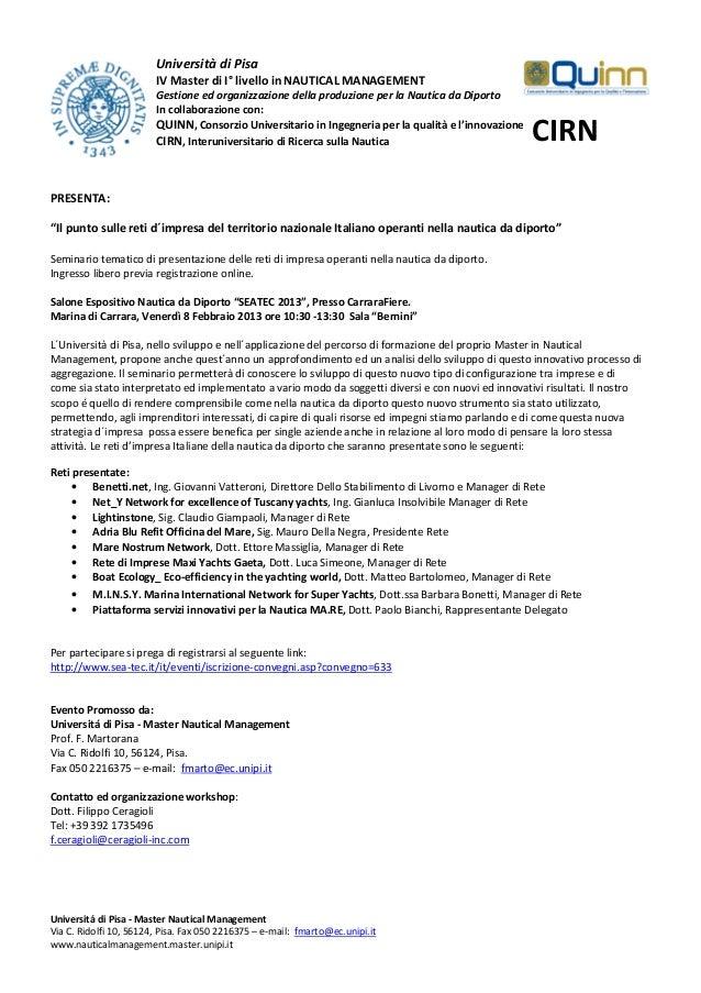 Università di Pisa                        IV Master di I° livello in NAUTICAL MANAGEMENT                        Gestione e...