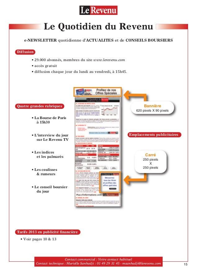 Le Quotidien du Revenu e-NEWSLETTER quotidienne d'ACTUALITES et de CONSEILS BOURSIERS • 29.000 abonnés, membres du site ww...