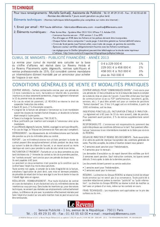 La remise pour cumul de mandat sera calculée sur la base du chiffre d'affaires net réalisé dans Le Revenu Hebdo et Le Reve...