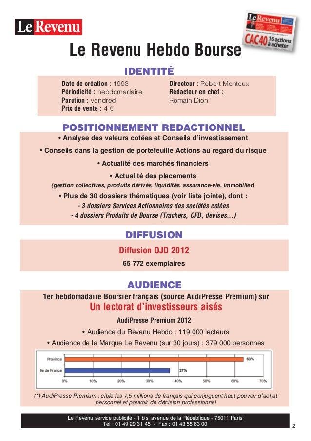 IDENTITÉ POSITIONNEMENT REDACTIONNEL Le Revenu Hebdo Bourse • Analyse des valeurs cotées et Conseils d'investissement • Co...