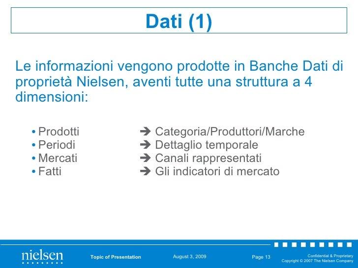 Le informazioni vengono prodotte in Banche Dati di proprietà Nielsen, aventi tutte una struttura a 4 dimensioni: <ul><li>P...