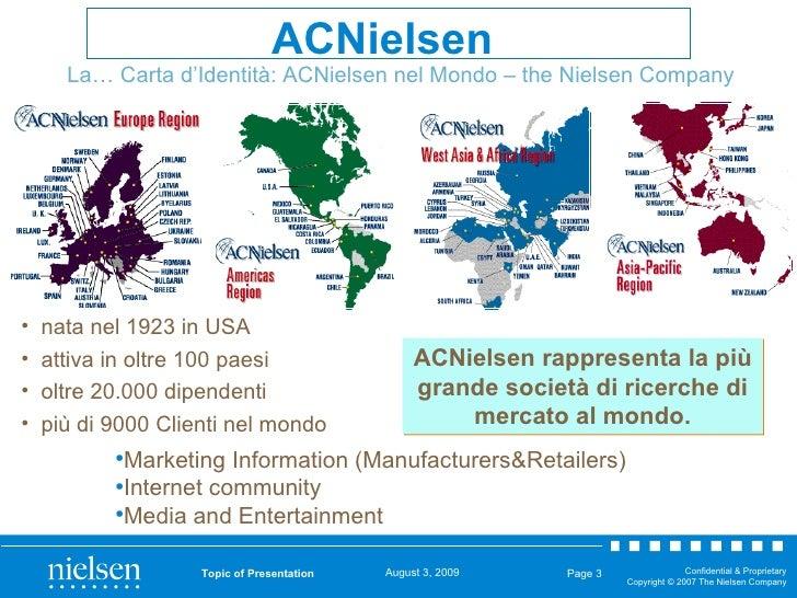 Topic of Presentation Page  La… Carta d'Identità: ACNielsen nel Mondo – the Nielsen Company <ul><li>nata nel 1923 in USA <...