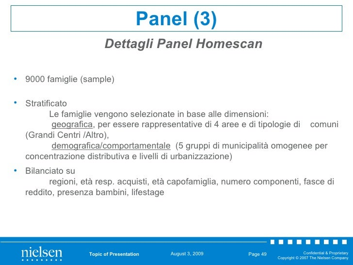 Topic of Presentation Page  Dettagli Panel Homescan Panel (3) <ul><li>9000 famiglie (sample) </li></ul><ul><li>Stratificat...