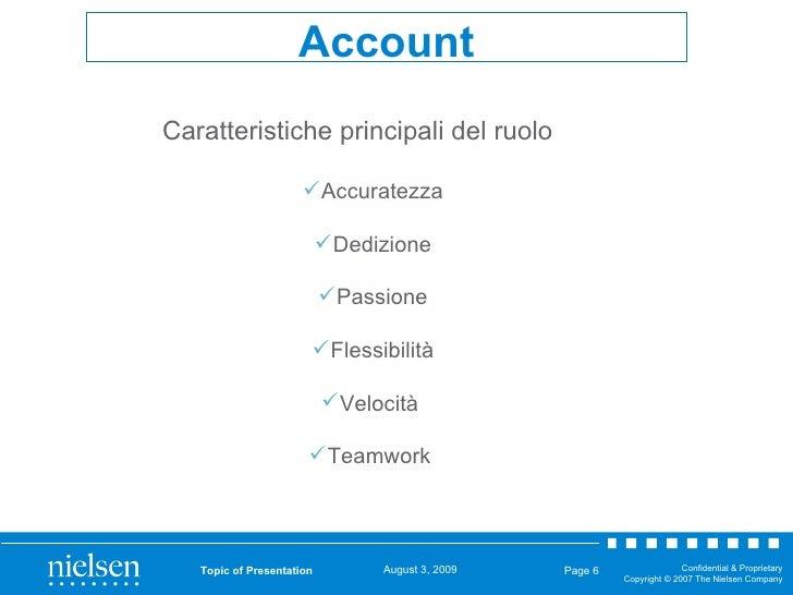 Topic of Presentation Page  Account <ul><li>Caratteristiche principali del ruolo </li></ul><ul><ul><li>Accuratezza </li></...