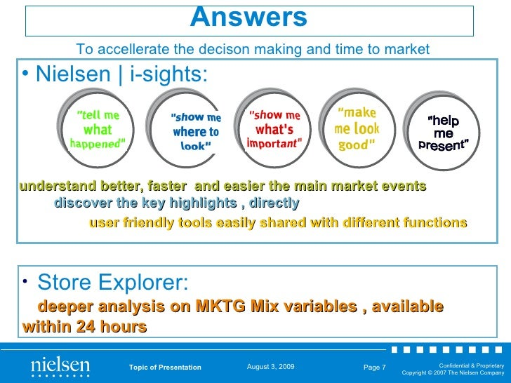 Topic of Presentation Page  <ul><li>Nielsen   i-sights: </li></ul>Answers understand better, faster  and easier the main m...