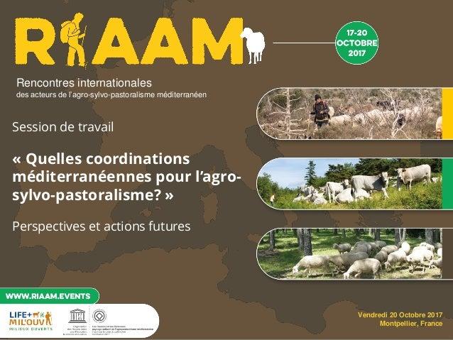 Rencontres Internationales des acteurs de l'agro-sylvo-pastoralisme méditerranéen – 17 au 20 octobre 2017 – florac & montp...