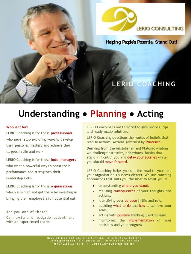 Helping People's Potential S tand Out!                                                                  LERIO COACHING    ...